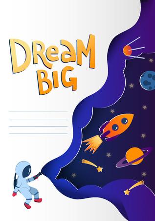 Plantilla de portada de cuaderno con garabatos de estilo de corte de papel espacial. Astronauta explorando el espacio. Estilo de corte de papel. Planetas, cohetes, cometas en el cielo. Concepto de concepto de cuaderno. Cubierta de cuaderno editable de vector Ilustración de vector