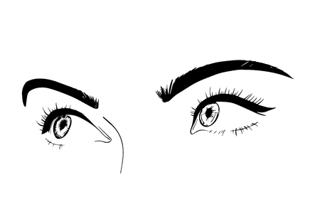 Female eyes close-up, drawing, sketch. A flirtatious look. The illustration is suitable for banners, posters beauty salons, a picture on glass or mirror, beauty blogs. Isolated illustration.
