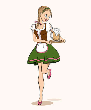 Oktoberfest cartoon style illustration of running waitress in traditional german costume with beer on tray. Young sexy girl in a bavarian dress for beer fest poster, banner. greeting card, invitation Illustration