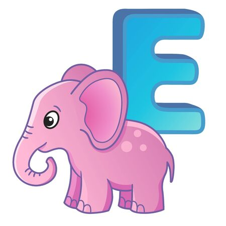 Vector bright alphabet with letters. Poster for kindergarten and preschool. Cards for learning English. Letter E. Elephant