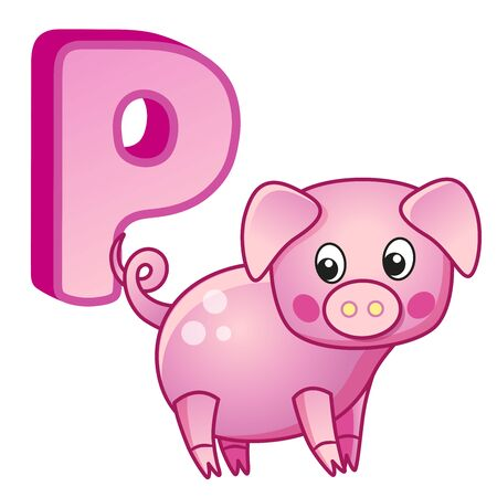 English alphabet. Poster for kindergarten and preschool. Cards for learning English. Letter P. Pig