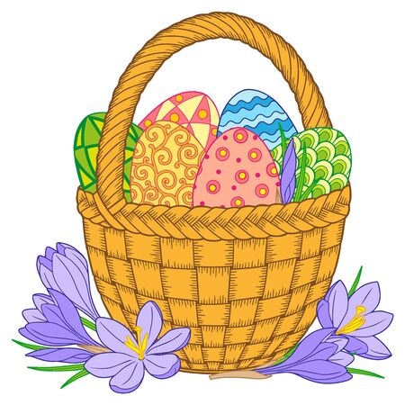 Bright easter eggs and flowers in basket on white background