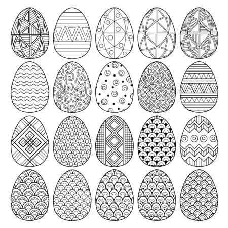 Happy Easter. set of black and white easter eggs. Coloring book for adults for relaxation and meditation. Vector isolated outline elements on a white background