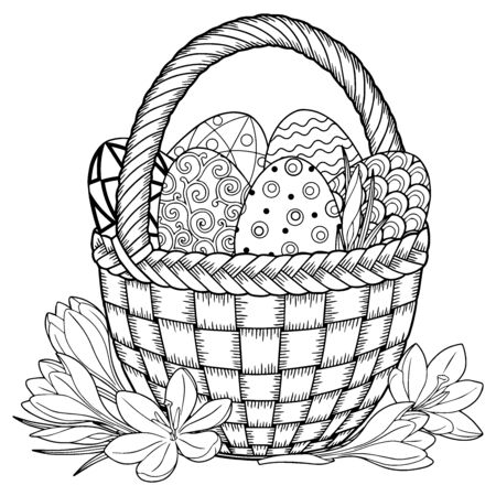 Happy Easter. Black and White Doodle Easter Eggs in the basket. Coloring book for adults for relax and meditation. Vector isolated elements