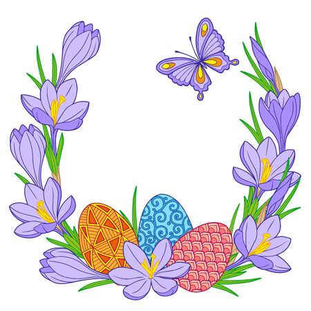 Happy Easter. Frame of Bright Easter eggs and crocus flowers