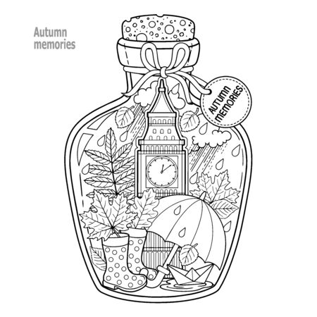 Coloring book for adults. A glass vessel with autumn memories of dreams about a trip to London. A bottle with rain, boots, leaves, a cup of tea, big ben tower london, Victoria Tower