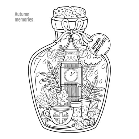 Coloring book for adults. A glass vessel with autumn memories of dreams about a trip to London. A bottle with rain, boots, leaves, a cup of tea, big ben tower london, Victoria Tower Ilustración de vector