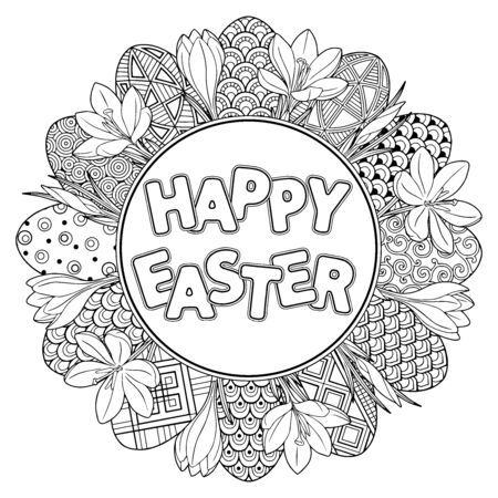 Happy Easter. Frame with black and white doodles easter eggs and flowers. Coloring book for adults for relaxation and meditation. Vector isolated elements