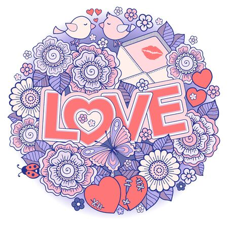 Valentine's Day card. Wedding invitetion. Round shape made of Abstract flowers, butterflies, birds kissing and the word love.