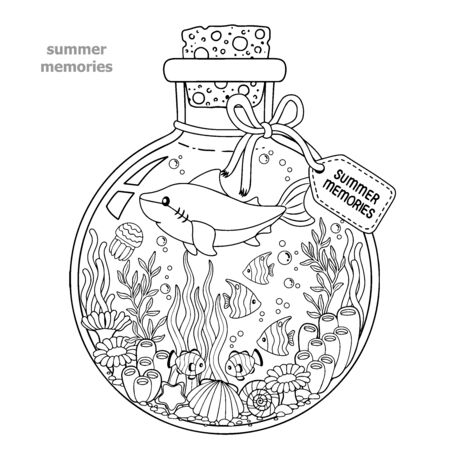 Coloring book for adults. A glass vessel with memories of summer. A bottle with sea creatures - a shark, tropical fish, nemo fish, jellyfish, corals and seashells.