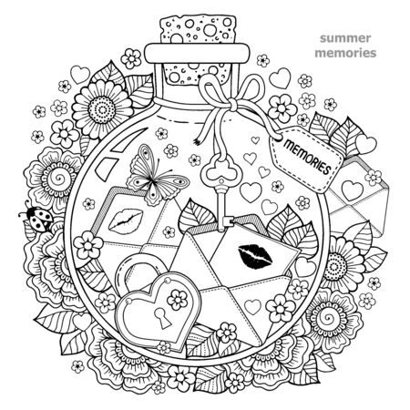 Coloring for adults. Vector Coloring book for adults. A glass vessel with memories of summer. A bottle with bees, butterflies, ladybug, leaves and letters of love with kisses and hearts