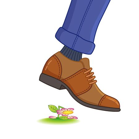 The foot of a man in shoes steps on a flower. Destruction of nature, ecology, rare species of plants, crushed plants