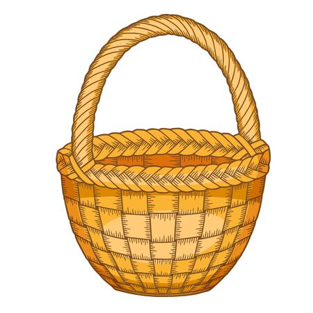 Vector illustration. Wicker basket of on a white background 向量圖像