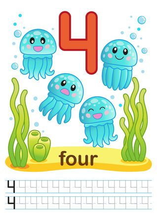Coloring printable worksheet for kindergarten and preschool. Exercises for writing numbers. Bright funny fishes, crabs, jellyfish, seashells, octopus, other marine life, plants, corals on the sea back