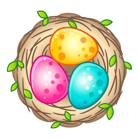Bird's nest with bright Easter eggs. Vector isolated on a white background Foto de archivo - 143297742