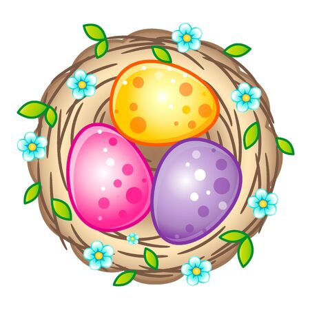 Birds nest with bright Easter eggs. Vector isolated on a white background Illustration