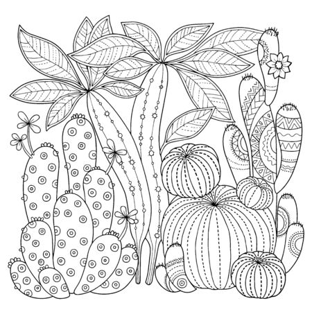 Vector coloring book for adult. Cacti and succulents with spines and flowers. Black and white outline image on a white background