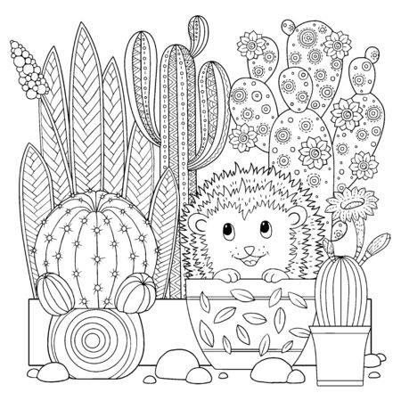 Vector coloring book for adult. Cacti and succulents with spines and flowers. Black and white outline image on a white background Vector Illustration