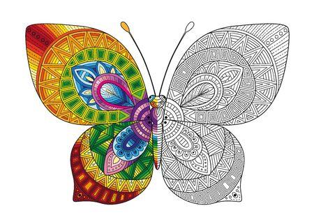 Vektorschwarzweiss-Bild eines Schmetterlings auf weißem Hintergrund. Handgezeichneter Schmetterlings-Zentangle-Stil für T-Shirt-Design oder Tätowierung. Vektorgrafik