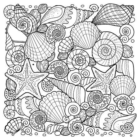 Livre de coloriage pour adulte, pour méditer et se détendre. Fond de vente, ancres, coquillages, pierres et sable. Image en noir et blanc sur fond blanc d'éléments isolés