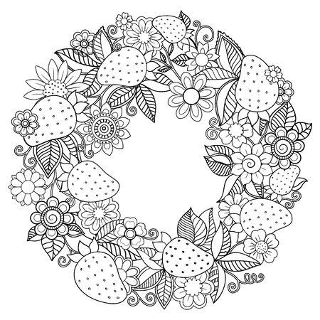 Coloring book for adult, for meditation and relax. Round shape of strawberries and flowers. Black and white image on a white background of isolated elements