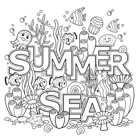 Hand drawn coloring book for adult. Summer holidays, party and rest. Coloring book for adults for meditation and relax. Summer sea. Tropical fish, nemo fish, jellyfish, corals and seashells.