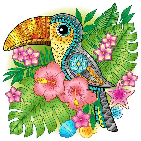 A bright decorative toucan among exotic plants and flowers. Vector image for print on clothes, textiles, posters, invitations