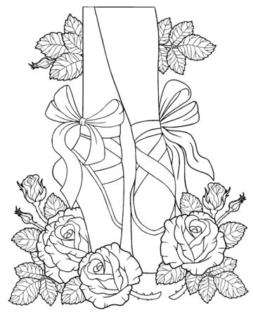 Vector coloring book for adults. Legs of a ballerina in pointe shoes among the flowers of roses with thorns