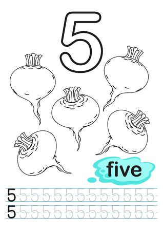 Coloring printable worksheet for kindergarten and preschool. Exercises for writing numbers. Learn numbers with bright fresh vegetables count and color from 1 to 10