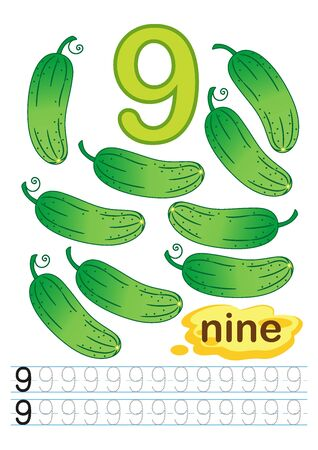 Vector printable worksheet for kindergarten and preschool. Exercises for writing numbers. Learn numbers with bright fresh vegettables count and color from 1 to 10