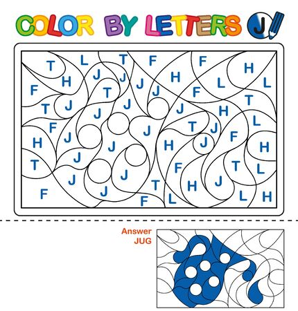 ABC Coloring Book for children. Color by letters. Learning the capital letters of the alphabet. Puzzle for children. Preschool Education. Letter J. Jug