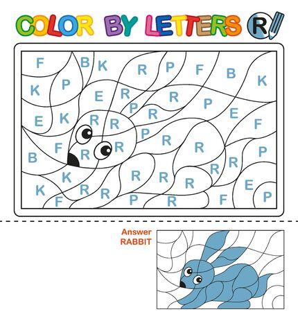 ABC Coloring Book for children. Color by letters. Learning the capital letters of the alphabet. Puzzle for children. Preschool Education. Letter R. Rabbit Ilustração