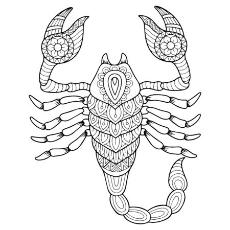 Coloringbook for adult. Silhouette of scorpion isolated on white background. Zodiac sign scorpio.