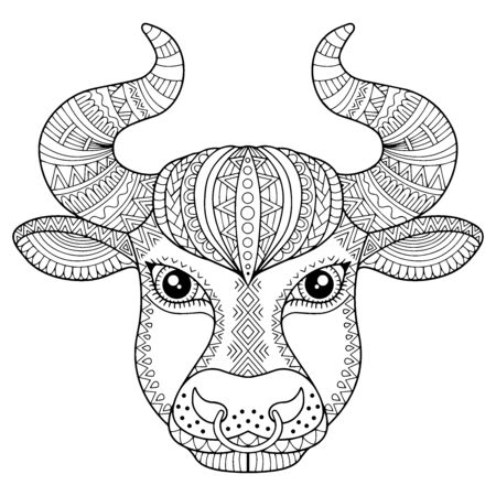 Coloring book for adult. Silhouette of bull isolated on white background. Zodiac sign Taurus. Aanimal print. Vettoriali