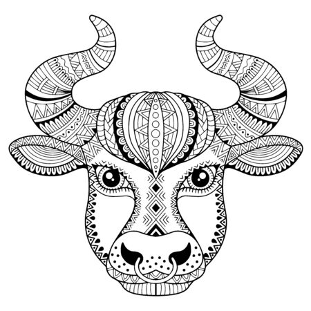 Coloring book for adult. Silhouette of bull isolated on white background. Zodiac sign Taurus. Aanimal print.