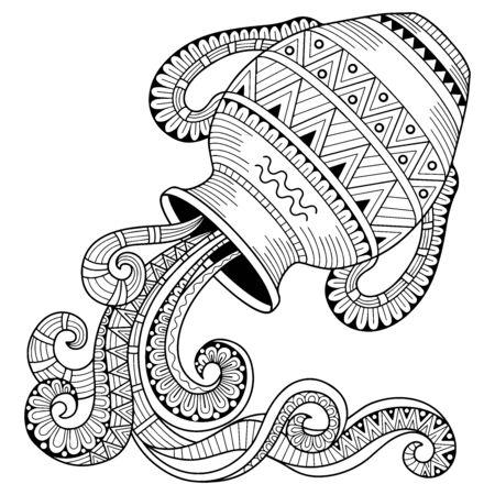 Vector coloring book for adult. Silhouette of jug isolated on white background. Zodiac sign Aquarius Vektoros illusztráció