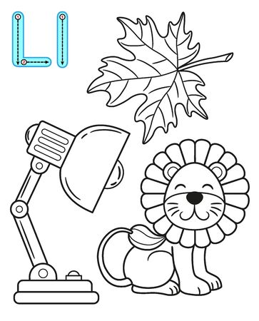 Coloring page for kindergarten and preschool. Card for study English. Vector coloring book alphabet. Letter L. leaf, lamp, lion