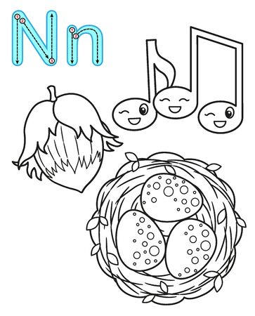 Coloring page for kindergarten and preschool. Card for study English. Vector coloring book alphabet. Letter N. nuts, notes, nest