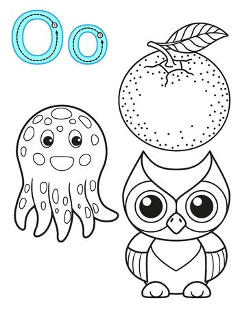 Coloring page for kindergarten and preschool. Card for study English. Vector coloring book alphabet. Letter O. orange, owl, octopus Illustration