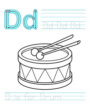 Coloring book page. Printable worksheet for kindergarten and preschool. Exercises for study English. Coloring book alphabet. Simple level of difficulty. Letter D. Drum Illustration