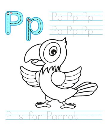 Coloring book page. Printable worksheet for kindergarten and preschool. Exercises for study English. Coloring book alphabet. Simple level of difficulty. Letter P. Parrot Ilustração