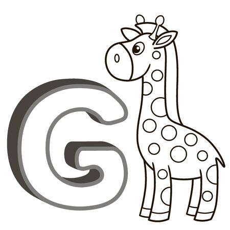Vector coloring book alphabet with capital letters of the English and cute cartoon animals and things. Coloring page for kindergarten and preschool. Cards for learning English. Letter G. Giraffe