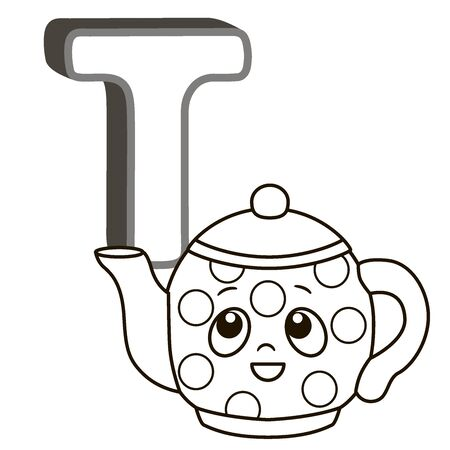 Coloring book alphabet with capital letters of the English and cute cartoon animals and things. Coloring page for kindergarten and preschool. Cards for learning English. Letter T. Teapot Vektoros illusztráció
