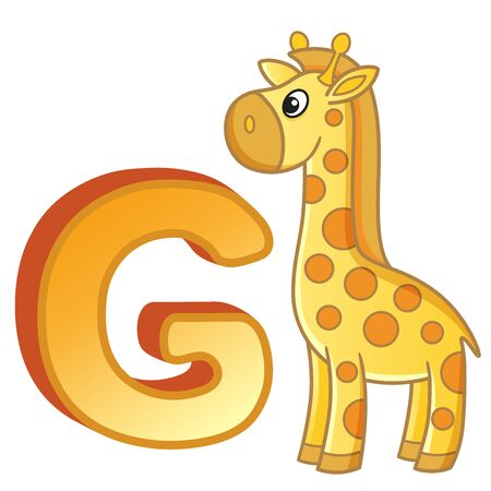 Bright illustrations alphabet with capital letters of the English and cute cartoon animals and things. Poster for kindergarten and preschool. Cards for learning English. Letter G. Giraffe