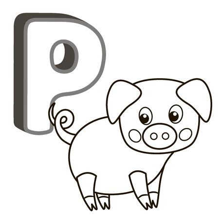 Coloring book alphabet with capital letters of the English and cute cartoon animals and things. Coloring page for kindergarten and preschool. Cards for learning English. Letter P. Pig