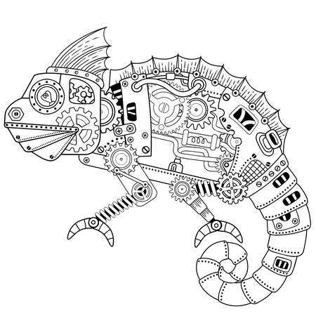 Steampunk coloring page. Vector coloring book for adult for relax and meditation. Art design of a fictional mechanical robot iguana or chameleon