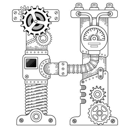 Vector coloring book for adults. Steampunk capital font. Mechanical alphabet made of metal gears and various details on white background. Capital letter H