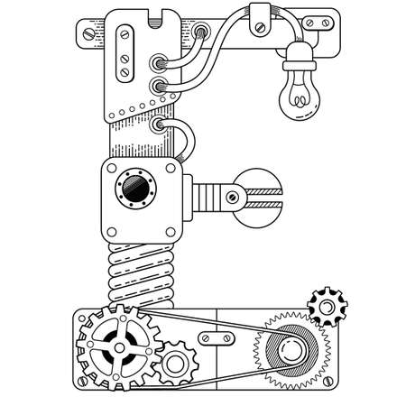 Vector coloring book for adults. Steampunk capital font. Mechanical alphabet made of metal gears and various details on white background. Capital letter E Vettoriali