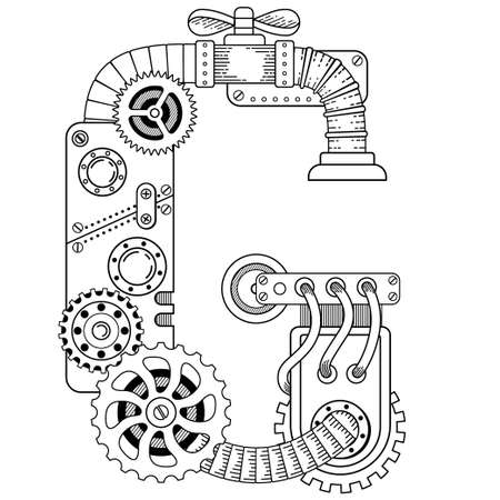 Vector coloring book for adults. Steampunk capital font. Mechanical alphabet made of metal gears and various details on white background. Capital letter G Vettoriali