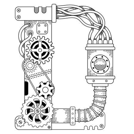 Vector coloring book for adults. Steampunk capital font. Mechanical alphabet made of metal gears and various details on white background. Capital letter D
